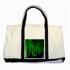 Spooky Forest With Illuminated Trees Two Tone Tote Bag
