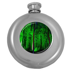 Spooky Forest With Illuminated Trees Round Hip Flask (5 oz)
