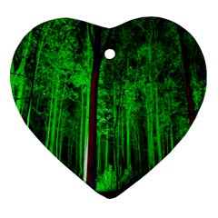 Spooky Forest With Illuminated Trees Heart Ornament (Two Sides)