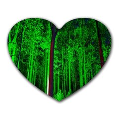 Spooky Forest With Illuminated Trees Heart Mousepads