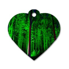 Spooky Forest With Illuminated Trees Dog Tag Heart (two Sides)