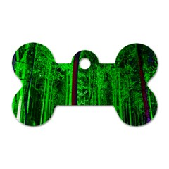 Spooky Forest With Illuminated Trees Dog Tag Bone (Two Sides)