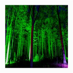 Spooky Forest With Illuminated Trees Medium Glasses Cloth