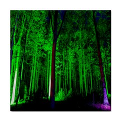 Spooky Forest With Illuminated Trees Face Towel