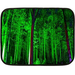Spooky Forest With Illuminated Trees Double Sided Fleece Blanket (Mini)