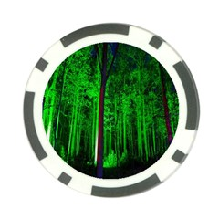 Spooky Forest With Illuminated Trees Poker Chip Card Guard (10 Pack)