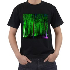 Spooky Forest With Illuminated Trees Men s T-Shirt (Black)