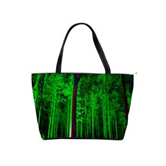 Spooky Forest With Illuminated Trees Shoulder Handbags