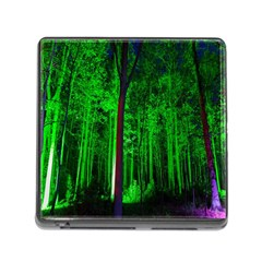 Spooky Forest With Illuminated Trees Memory Card Reader (Square)
