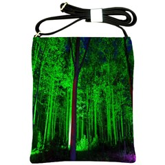 Spooky Forest With Illuminated Trees Shoulder Sling Bags