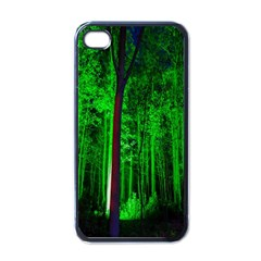 Spooky Forest With Illuminated Trees Apple iPhone 4 Case (Black)