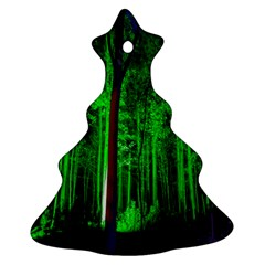 Spooky Forest With Illuminated Trees Christmas Tree Ornament (Two Sides)