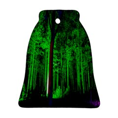 Spooky Forest With Illuminated Trees Bell Ornament (two Sides)