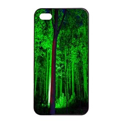 Spooky Forest With Illuminated Trees Apple Iphone 4/4s Seamless Case (black)