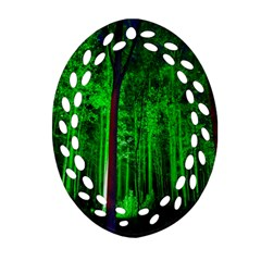 Spooky Forest With Illuminated Trees Ornament (oval Filigree)