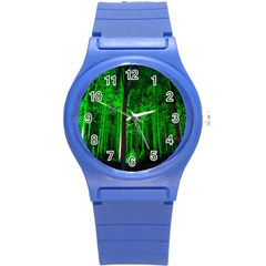 Spooky Forest With Illuminated Trees Round Plastic Sport Watch (s)