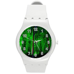 Spooky Forest With Illuminated Trees Round Plastic Sport Watch (m)