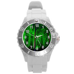 Spooky Forest With Illuminated Trees Round Plastic Sport Watch (L)