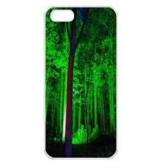 Spooky Forest With Illuminated Trees Apple Iphone 5 Seamless Case (white)