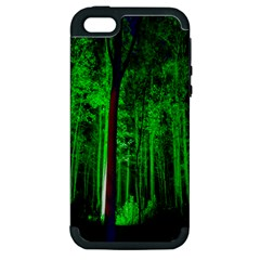 Spooky Forest With Illuminated Trees Apple Iphone 5 Hardshell Case (pc+silicone)