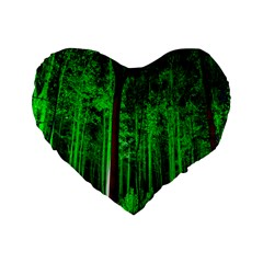 Spooky Forest With Illuminated Trees Standard 16  Premium Heart Shape Cushions