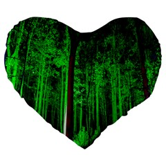Spooky Forest With Illuminated Trees Large 19  Premium Heart Shape Cushions