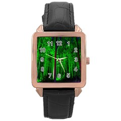Spooky Forest With Illuminated Trees Rose Gold Leather Watch