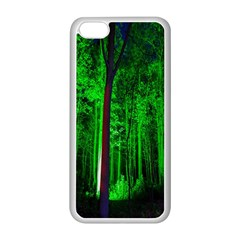 Spooky Forest With Illuminated Trees Apple iPhone 5C Seamless Case (White)