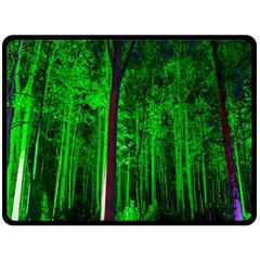 Spooky Forest With Illuminated Trees Double Sided Fleece Blanket (large)