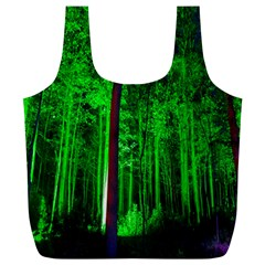 Spooky Forest With Illuminated Trees Full Print Recycle Bags (l)