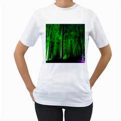 Spooky Forest With Illuminated Trees Women s T-Shirt (White)