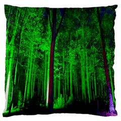 Spooky Forest With Illuminated Trees Large Flano Cushion Case (One Side)
