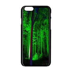 Spooky Forest With Illuminated Trees Apple Iphone 6/6s Black Enamel Case