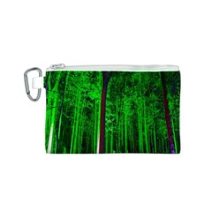 Spooky Forest With Illuminated Trees Canvas Cosmetic Bag (s)