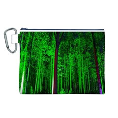Spooky Forest With Illuminated Trees Canvas Cosmetic Bag (l)