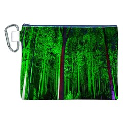 Spooky Forest With Illuminated Trees Canvas Cosmetic Bag (xxl)