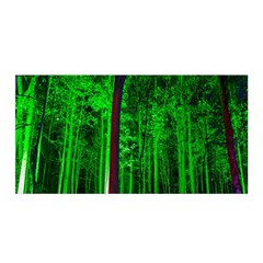 Spooky Forest With Illuminated Trees Satin Wrap