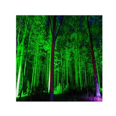 Spooky Forest With Illuminated Trees Small Satin Scarf (Square)