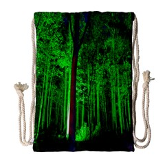 Spooky Forest With Illuminated Trees Drawstring Bag (large)
