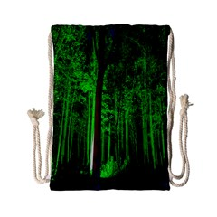 Spooky Forest With Illuminated Trees Drawstring Bag (Small)