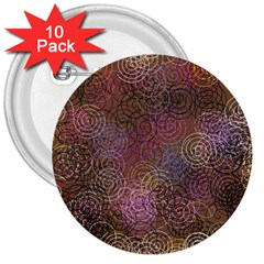 2000 Spirals Many Colorful Spirals 3  Buttons (10 pack)