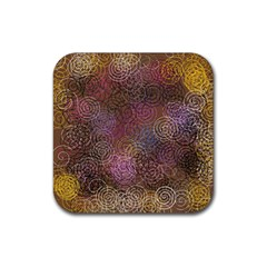 2000 Spirals Many Colorful Spirals Rubber Square Coaster (4 pack)