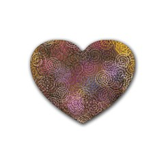 2000 Spirals Many Colorful Spirals Heart Coaster (4 pack)