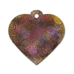2000 Spirals Many Colorful Spirals Dog Tag Heart (Two Sides)