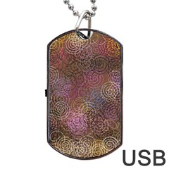 2000 Spirals Many Colorful Spirals Dog Tag USB Flash (Two Sides)