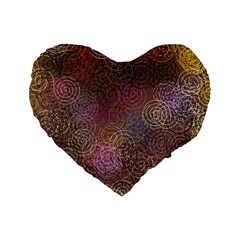2000 Spirals Many Colorful Spirals Standard 16  Premium Heart Shape Cushions