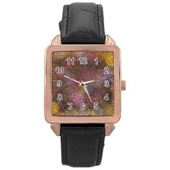 2000 Spirals Many Colorful Spirals Rose Gold Leather Watch