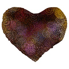 2000 Spirals Many Colorful Spirals Large 19  Premium Flano Heart Shape Cushions