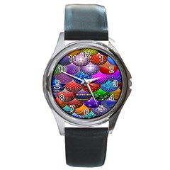 Fun Balls Pattern Colorful And Ornamental Balls Pattern Background Round Metal Watch