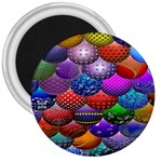Fun Balls Pattern Colorful And Ornamental Balls Pattern Background 3  Magnets Front